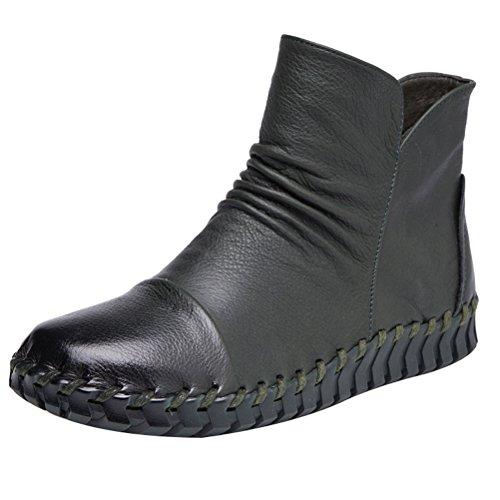 Mordenmiss Womens New Fall Winter Martin Flat Toe Boots Stile 2 Verde Nerastro