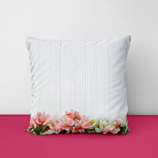 417m6QzeQmL. SS320 Flowers White Wooden Square Design Printed Cushion Cover
