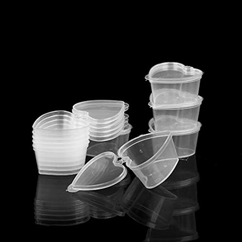 YAIKOAI 50 Pieces Disposable Sauce Cups Plastic Seasoning Portion Cup Plastic Jello Shot Cups Souffle Condiment Container with Lids Heart Shaped or Party, Picnic, Barbeque, Tasting Events-45ml