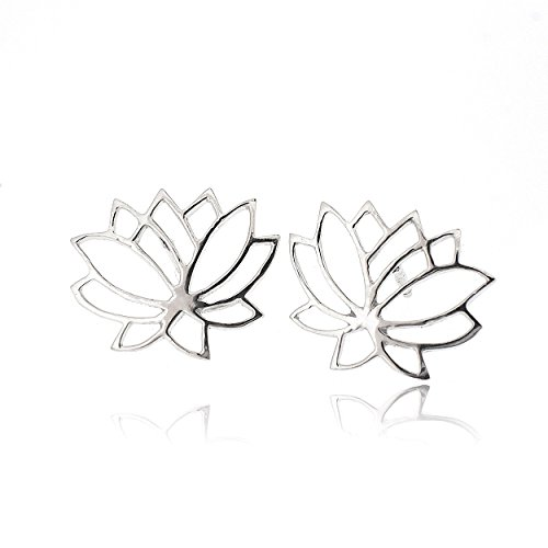 Sovats Lotus Flower Earring For Women 925 Sterling Silver Rhodium Plated - Simple, Stylish Stud Earrings&Trendy Nickel Free Earring ()