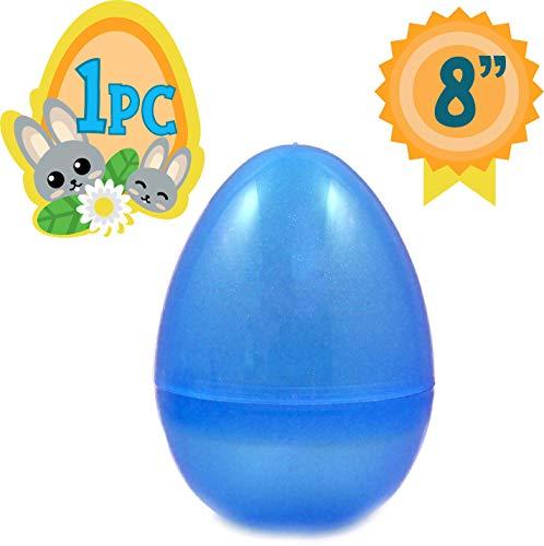 Totem World Jumbo Fillable Plastic Easter Egg Hunt Party Supply - 8-Inch Transparent Blue Glitter Color Plastic Egg -