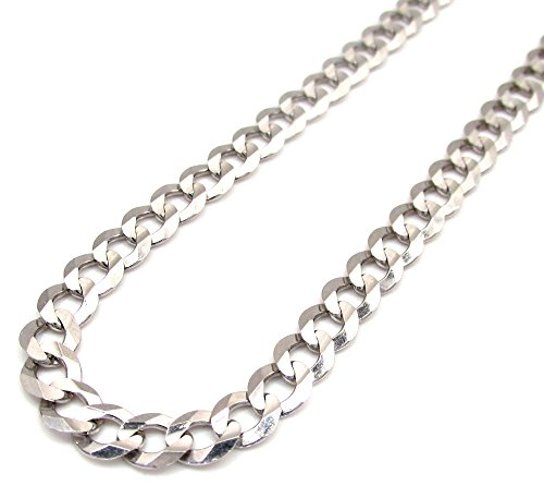 14K White Gold Men's 5MM Cuban Chains Chains Lobster Clasp, 20 to 28 Inches (28) by Jawa Fashion