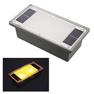 Funciona con energía solar 2-LED amarillo jardín al aire libre Camino empotrada ladrillo Luz