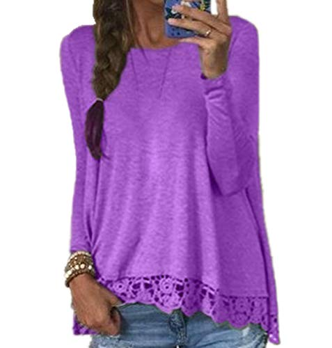 T Collo Casual Maglietta Jumper Shirts Moda Maglie Fashion Primavera Blouse Tops Rotondo e Sciolto Manica Donne Autunno Simple a Cucitura Bluse Viola Pizzo Lunga wazxq1OF