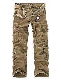 AUBIG Men's Cotton Multi Pockets Ripstop Work Pants Trousers(No Belt)