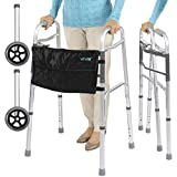 Vive Folding Walker (Plus Bag and 2 Wheels) - Front Wheeled Support,...