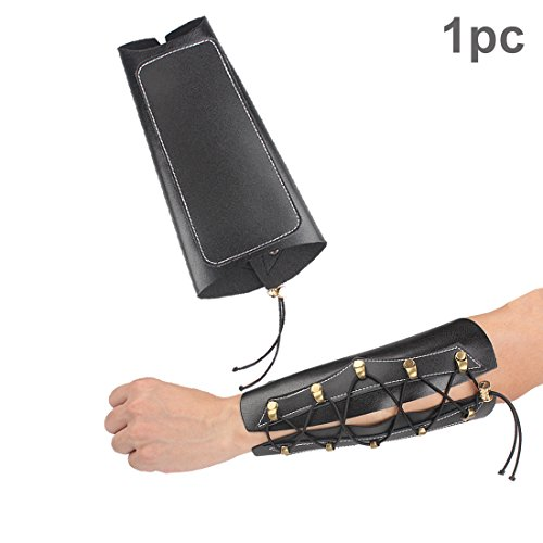 Krayney Archery Leather Laces Wristband Unisex Protective Arm Guard - Black/Brown