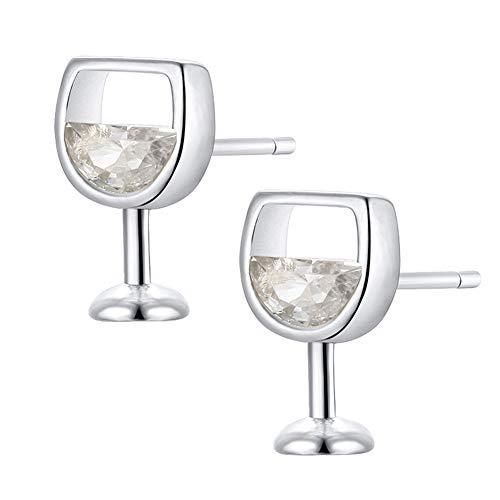 lightclub Fashion Simple Women Hollow Wine Glass Mini Small Cubic Zirconia Ear Stud Earrings Studs Studs Earrings Jewelry Silver