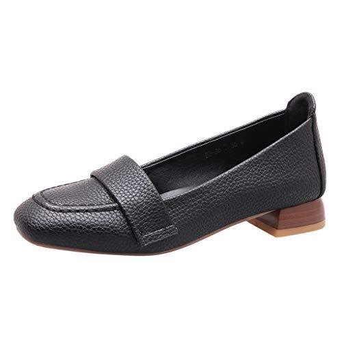 Deloito Damen Freizeit Arbeitsschuhe Round Toe Single Schuhe Retro Espadrilles Niedrig Quadratischer Kopf Mokassins Loafers Müßiggänger Übergröße Lederschuhe