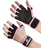 Ventilated Workout Gym Gloves with Wrist Wrap Support for Men & Women, 5 Colors, Full Palm Padding, Extra Grip, no Calluses. Perfect for Weightlifting, Cross Training Fitness, WODs - Small Pink.