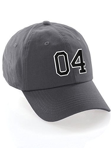 - I&W Hatgear Customized Number Hat 00 to 99 Team Colors Baseball Cap, Charcoal Black White Number 04