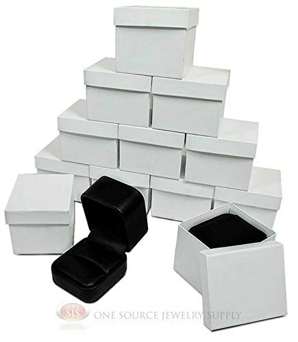 OSJS 12 Piece Round Corner Black Leather Ring Jewelry Gift Boxes 2