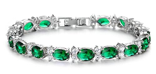 18K White Gold Plated Women Charm Bracelet Inlaid Green Violet CZ Crystal Tennis Bracelet - Adisaer