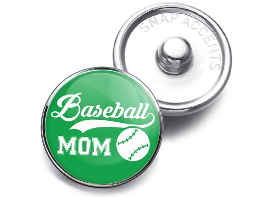 Choose a Color   Baseball Mom Snap Jewelry 18MM SnapAccents Charm Button (Green)