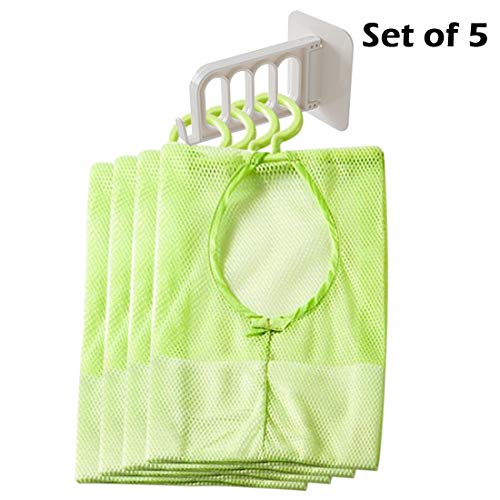 Mesh Storage Bags with Wall Hook Hanger Clothespin Underwear Socks Storage Organizer Bag with Storage Hook Hanger Bathroom Shower Bath Toys Tools Organizer Bags