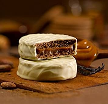 "Cachafaz""Alfajor Blanco"" Real White Chocolate Ganache Glaze Cookie Sandwich Filled with Dulce de"
