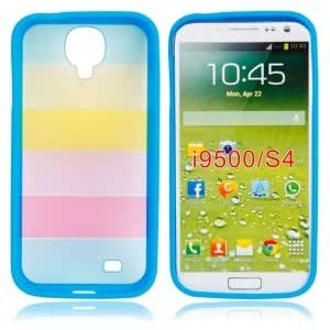 Hard Shell Case with Rainbow Pattern for Samsung I9500 Blue