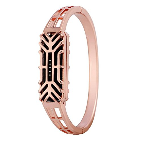 Bangle for Fitbit Flex 2, Han Shi Stainless Steel Replacement Watch Band Wrist Strap for Fitbit Flex 2 (Rose - Tory Turquoise Burch