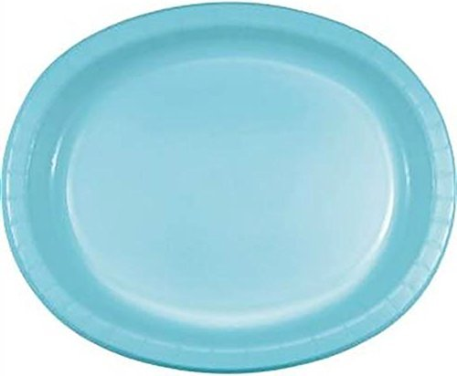 """Custom & Unique {10"""" x 12"""" Inch} 8 Count Multi-Pack Set of Big Extra Large Size Oval Disposable Paper Plates w/ Simple Modern Plain Natural Fun Winter Party """"Teal Blue Colored"""""""