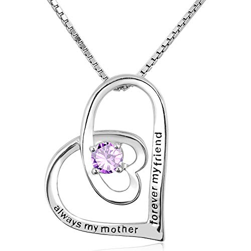 EV.YI Jewels 925 Sterling Silver Double Heart in Heart Designer Necklace with June Birthstone Gift for Mom Always My Mother Forever My Friend (Designer Heart Double Crystal)