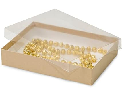 Amazon Com 7 X 5 X 1 1 4 Kraft Gift Boxes With Clear Lid 100