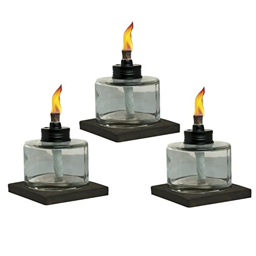 TIKI Brand Mixed Material Votive Tabletorch 3-pk -