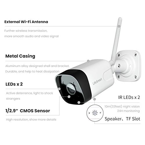 LifeSmart Outdoor Security Camera, 1080P WiFi Camera Bullet Surveillance Cameras, IP Camera with Two-Way Audio, IP66 Waterproof, Night Vision, Motion Detection, Activity Alert, Deterrent Alarm (White)