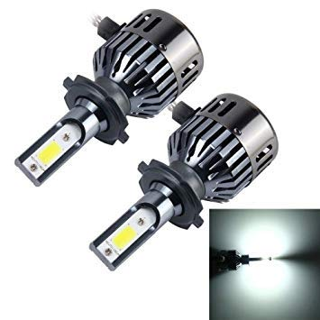 Uniqus 2 PCS H7 32W 2800 LM 6000K Car Auto LED Headlight with 2 COB LED Lamps and Dustproof Cover, DC 9-18V(White Light)