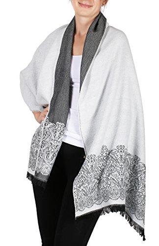 Bodilove Womens Stylish Pashminas Poncho Cape Shawl Wrap Blanket Scarf Grey Os