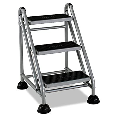 Cosco - Rolling Commercial Step Stool, 3-Step, 26 3/5 Spread, Platinum/Black 11834GGB1 (DMi EA by Cosco