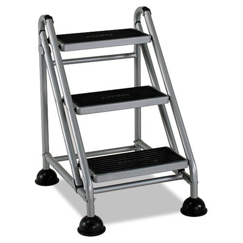 (Cosco - Rolling Commercial Step Stool, 3-Step, 26 3/5 Spread, Platinum/Black 11834GGB1 (DMi EA by Cosco)