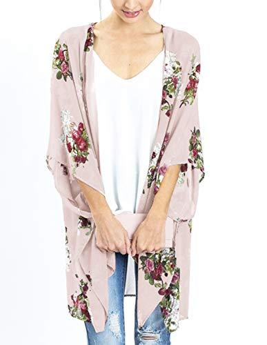 Women's Spring Floral Kimono Open Front Drape Cardigan Capes Light Pink S