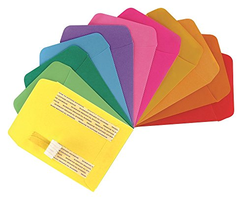 Hygloss Products Library Card Pockets, Self-Adhesive, 3.5 x 4.875 in, 30 Pockets, 10 Assorted Colors by Hygloss