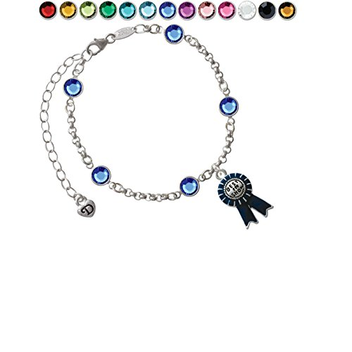 Best in Show Blue Ribbon Custom Crystal Color Fiona Charm Bracelet