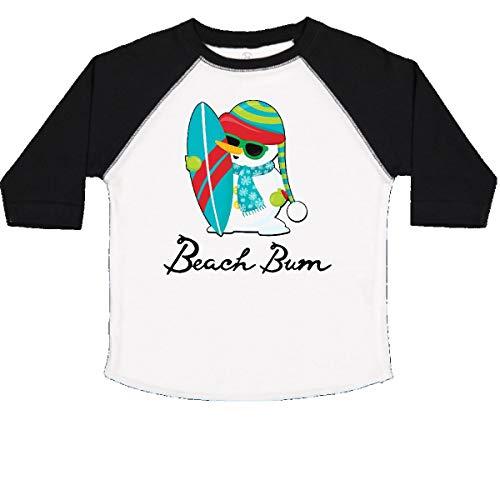 (inktastic - Beach Bum Surfing Snowman Toddler T-Shirt 2T White and Black 29ca3)