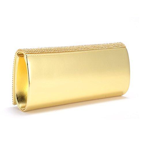 SODIAL(R) Barniz de cuero Rabat Bolso de noche de moda de color oro con Rhinestones para mujer chica