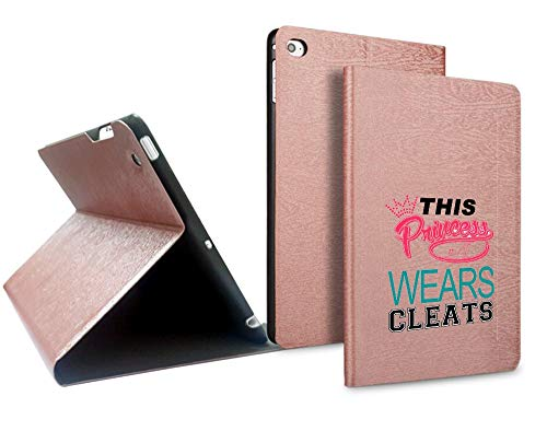 Slim Leather Designer Stand Case for iPad Mini 4 This Princess Wears Cleats Soccer Softball Lacrose Design Printed Full Protective Cover with Two Angle Stand. ()