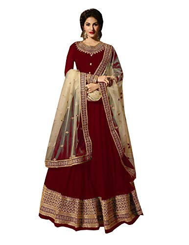Delisa Indian/Pakistani Bollywood Party Wear Long Anarkali Gown for Womens NG (Red, X-LARGE-44)