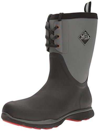 Muck Boot Heren Arctische Excursie Kant Midden Sneeuw Zwart, Grijs / Rood
