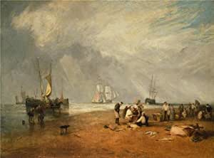 Joseph Mallord William Turner,The Fish Market At Hastings Beach,1810 , Cotton Canvas , 10x13inch / 25x34cm ,the Best Laundry Room Decoration And Home Decor Is This Amazing Paint On Canvas