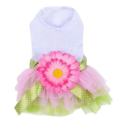 SBParts Cute Flower Bowknot Design Gauze Princess Tutu Dress Skirt Apparel for Pet Dog Puppy, Extra Large