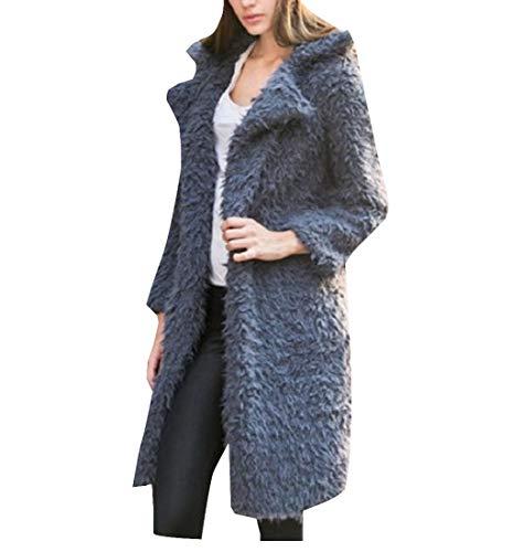EnergyWomen Fleece Grey Cardigan Topcoat Lapel Worsted Sweatshirt Outerwear rr4W80