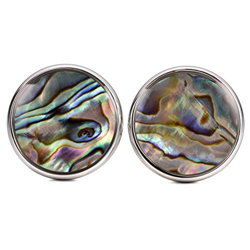 THREE KEYS JEWELRY Mens Color Abalone Shell Cufflinks Fancy Mother of Pearl for Men Wedding Business Suit Circular Glue Surface Shirt Groom - Link Cufflinks Pearl Mother Of