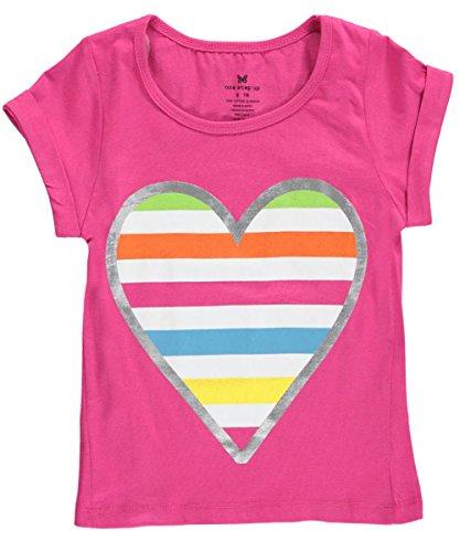 "One Step Up Big Girls' ""Rainbow Heart"" Midriff Top - fuchsia, 14 - 16"