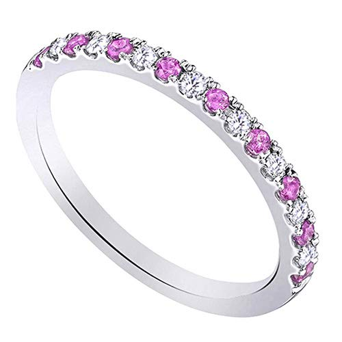 Classic Round Brilliant Cut Diamond And Pink Sapphire Wedding Band in 10K White Sold Gold (0.28 Carat) ()