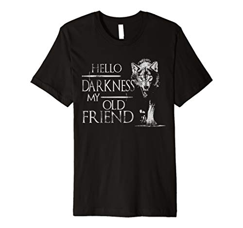 Wolf Hello Darkness My Old FriendT- Shirt Love Wolf ()