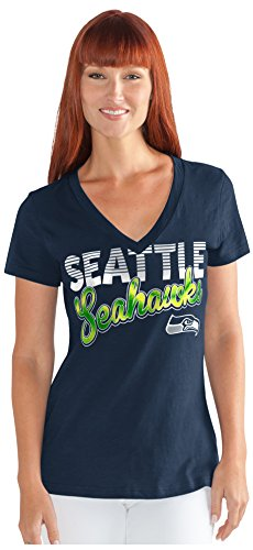 NFL Seattle Seahawks Women's 1St Down V-Neck Tee, X-Large, Navy