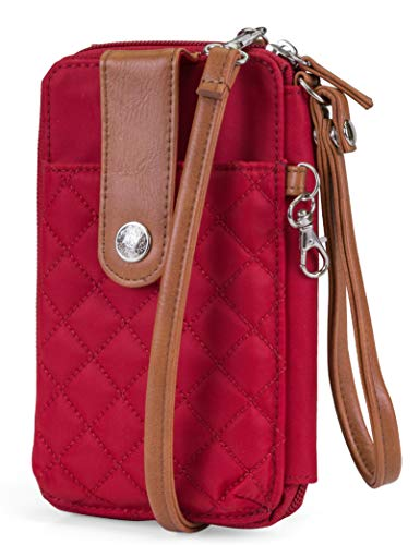 (MUNDI Jacqui Vegan Leather RFID Womens Crossbody Cell Phone Purse Holder Wallet (Red Nylon))