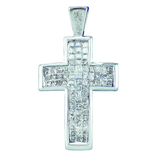 Roy Rose Jewelry 14K White Gold Womens Princess Diamond Cross Religious Pendant 1/2 Carat tw (Diamond Invisible Pendant Rose Setting)