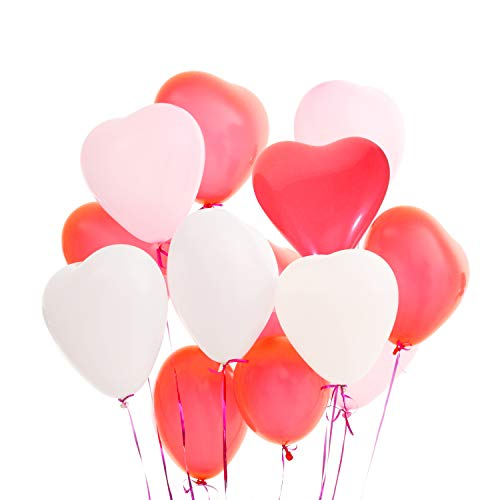 LAttLiv Valentines Day Balloons 50 Packs Heart Balloons 12 inch Latex Balloons for Wedding Decoration Birthday Decoration or Anniversary Decoration - -